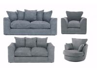 DYLAN JUMBO CORD GREY 3+2 SEATER OR LH/RH CORNER SOFA | 1 YEAR WARRANTY | UK EXPRESS DELIVERY