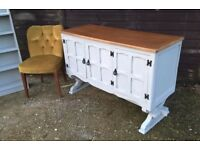 Vintage Grey Refectory Base Oak Sideboard/Ottoman TV/Media Stand *Free Local Delivery*(dresser pine)