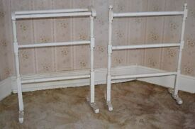 Two old wooden towel rails