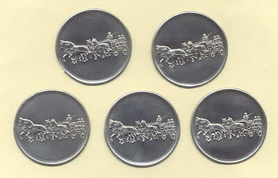 """5 Stück Zinn - Embleme """" Pferde Fahrsport 4-Spänner """" für Pokale / Medaillen 5cm"""