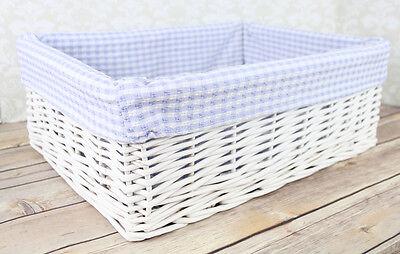 White Wicker Basket & BLUE GINGHAM Lining - Nursery Storage Gift Hamper - 41cm