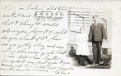 girl and her father Bangor ME nice real photo postcard postally used in 1905