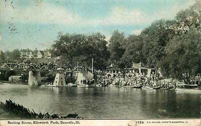 Postcard Boating Scene, Ellsworth Park, Danville, Illinois 1910 - C U Williams for sale  Saint Joseph