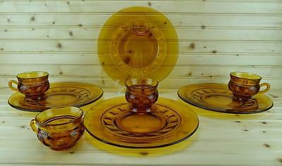 Colony COLOR CROWN Amber (4) Snack Plate & Cup Sets  Discontinued USA
