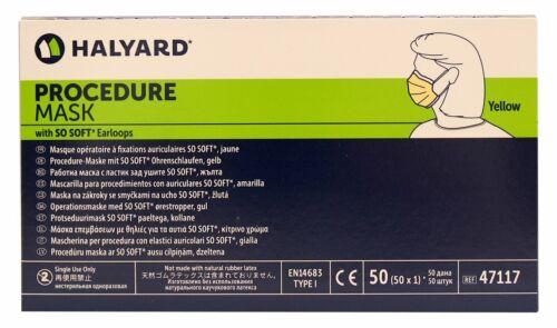 Halyard 47117 FACE Mask Yellow, 50/box