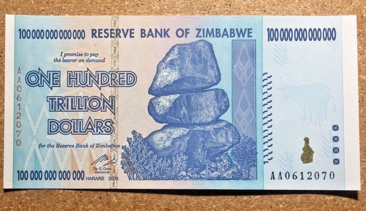 Zimbabwe 100 Trillion Dollars Banknotes, Aa /2008, Unc,100 Trillion Series
