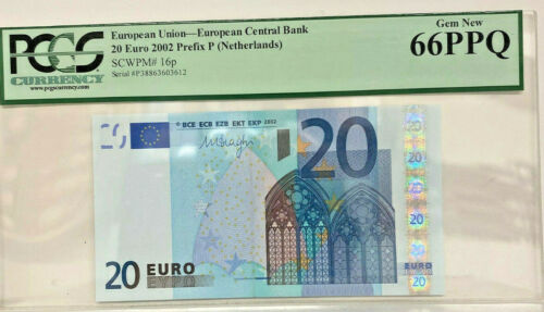 EUROPEAN UNION , PCGS GRADED 2002  20 EURO NETHERLANDS , Prefix P , VERY SCARCE