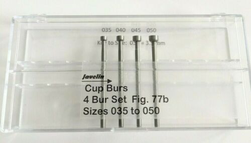JEWELRY CUP BUR SET FIG77b LARGE SIZE 4 PCS 035-050 QUALITY BURS FOR JEWELERS
