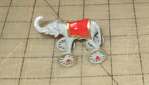 """Hand-Painted 2"""" Metal Circus ELEPHANT on Wheels Dollhouse Miniature - Pull Toy?"""
