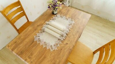 Decorative Wedding Burlap Table Runner With Gold Lace Embroidery- 16x108 Inches](Burlap Table Runner With Lace)