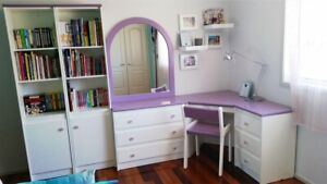 Girls Lilac & White Bedroom furniture - 6 piece
