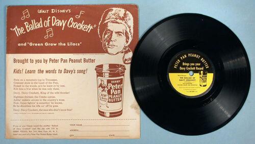 1954 Fess Parker Davy Crockett Mail Premium Record Peter Pan Peanut Butter WDP