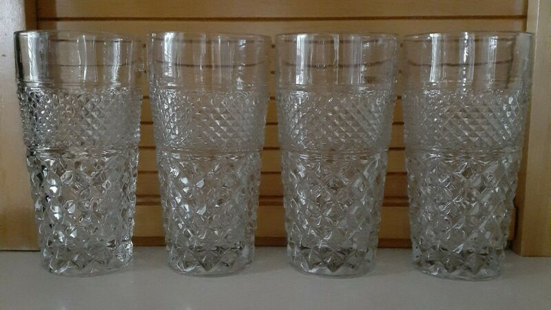 "Anchor Hocking Wexford Tumblers 12oz Vintage 6"" Glasses Set Of 4 EUC"