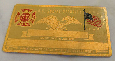 Fire Dept Fire Fighter US Social Security Metal Card Tag NOS VTG Perma Products​