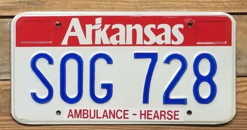 Arkansas expired 2011? AMBULANCE - HEARSE License Plate ~ SOG 728 - Embossed