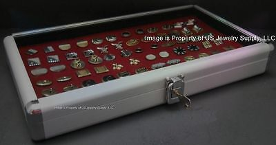 1 Wholesale Locking Aluminum Burgundy Cufflinks Display Storage Boxes Case