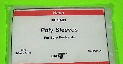 EUROPEAN SIZE POSTCARD POLY SLEEVES, HECO SAFE-T #US401, PKG 100, 3 MIL THICK