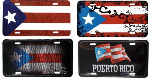 "Lot of 4 Puerto Rico Flag 6""x12"" Aluminum License Plate Tag ( Tablilla"