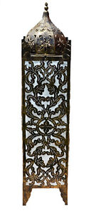 Balinese Moroccan Style Metal & White Fabric Lamp - 1 metre tall