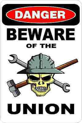 3 - Danger Beware Of The Union Tool Box Lunch Box Hard Hat Helmet Sticker H386