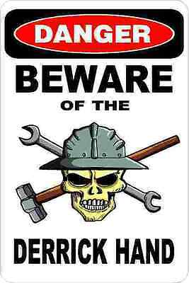 3 - Danger Beware Of The Derrick Hand Oilfield Hard Hat Helmet Sticker H345