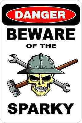 3 - Danger Beware Of Sparky Oilfield Electrician Hard Hat Helmet Sticker H385