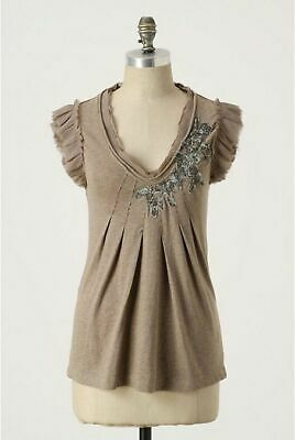 Nice Women's Small Anthropologie C. Keer Raw Elements Top Brown Applique Blouse