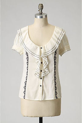Anthropologie Floreat Embroidered Ruffled Dress Blouse Top 2 Xs