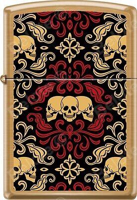 Zippo Day Of The Dead Skulls Ornament Tattoo Art Brushed Brass Windproof Lighter