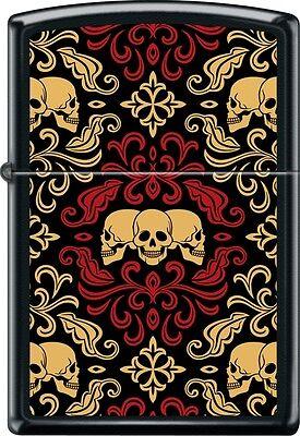 Zippo Day Of The Dead Skulls Ornament Tattoo Art Brushed Black Windproof Lighter