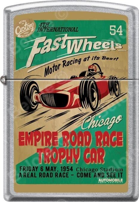 Zippo Fast Wheels Chicago Empire Road Race Trophy Car Street Chrome Lighter