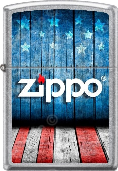 Zippo American Flag Usa Stage Logo With Stars Street Chrome WindProof Lighter
