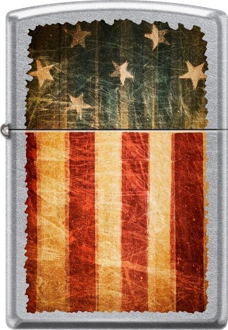 Zippo Battle Worn American Flag Patriotic, Weathered Street Chrome Lighter NEW