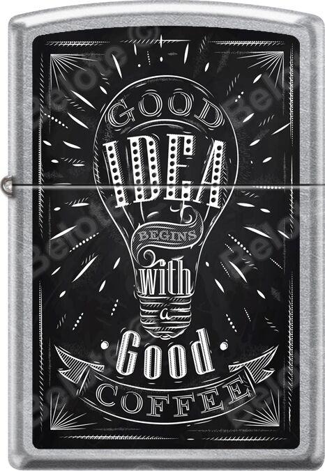 Zippo Good Idea With Good Coffee Sign Street Chrome WindProof Lighter *NEW*