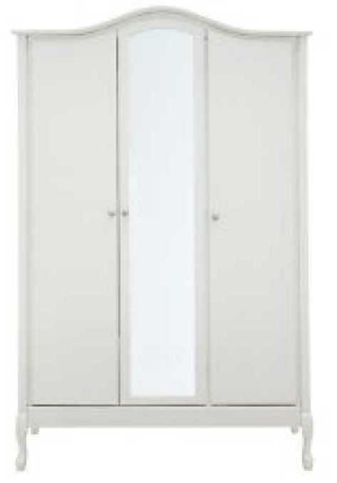 French Vintage Style 3 Door Mirrored Wardrobe 5 Drawer Tallboy