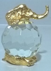 Crystal Glass and Brass Elephant
