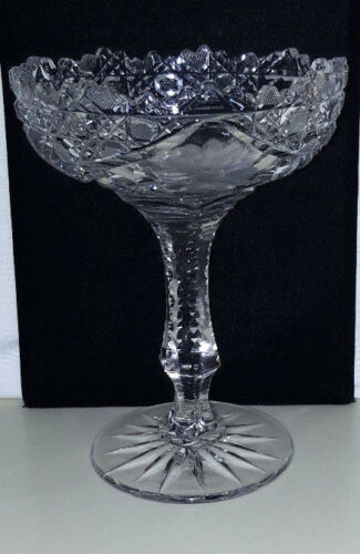 "Stunning Heavy Vintage Cut Glass 8"" Compote - Ornate Zipper Cut Stem/Fancy Base"