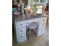 shabby chic dressing table and stool