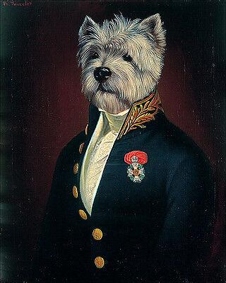 WEST HIGHLAND WHITE TERRIER WESTIE DRESSED DOG FINE ART PRINT Portrait - (Small)