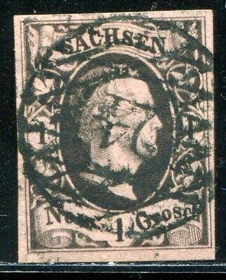 SACHSEN 1851 NUMMERNSTEMPEL 24 auf Nr 4 SCHÖN (J7688