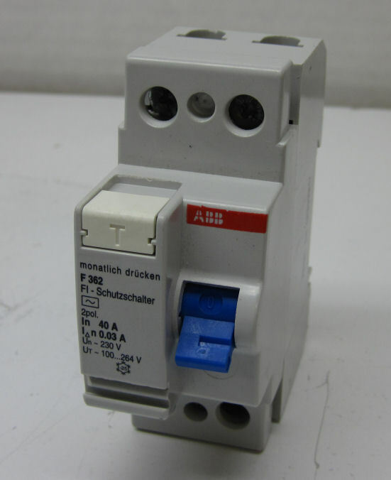 ABB F362-40/0.03 Residual Current-Operated Circuit Breaker, 2-Pole, 40A/30mA
