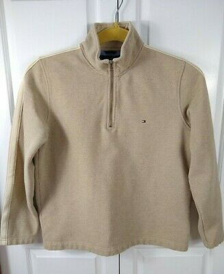 Tommy Hilfiger Henley Pullover Sweater Tan 1/4 Zip men's medium Long sleeve