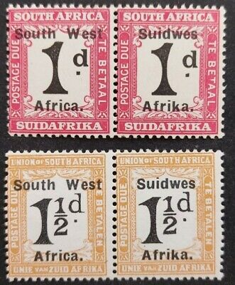 """South West Africa 1927, """"Postage Due"""" 2x pairs optd mh"""