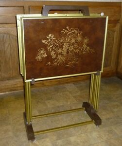Vintage set of 4 TV Trays and Caddy