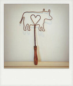 Vintage Farmhouse Wire Cow with Heart Shaped Rug Beater, Wooden