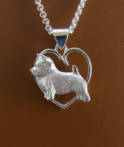 Small Sterling Silver Norwich Terrier Standing Study On A Heart Pendant