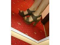 Brown chunky heels size 6