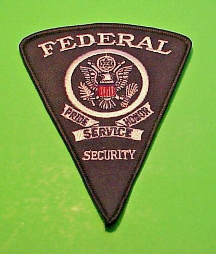FEDERAL SECURITY  SERVICE  ( SILVER / BLACK )  SECURITY / POLICE PATCH  4 7/8""