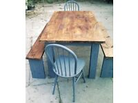 TABLE 2 CHAIRS 2 benches SOLID heavy TABLE 4ft x 3ft SHABBY CHIC FARMHOUSE 5ft x 3ft availible