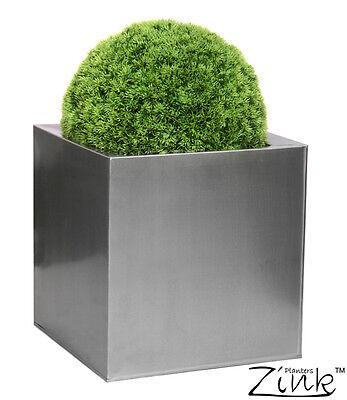 Silver Cube Garden Planter Steel Zinc Plant Flower Pot Indoor Outdoor Grey